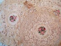 Soft and pretty pink tone lace doilies! Love the centers. These could be an inspiration for my placemats. Love Vintage, Vintage Lace, Pearl And Lace, Romantic Lace, Linens And Lace, Pink Tone, Lace Doilies, Lace Ribbon, Vintage Crafts