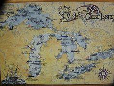 "Nautical Poster of A Map of The SHIP Wrecks of The Great Lakes 18"" x 24'' New 