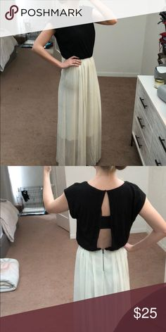 Alice and Olivia Dress Black jersey top with open back. White skirt. Skirt has some wear. Alice + Olivia Dresses Maxi