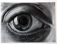 MC Escher Look in the eye's reflection Alphonse Mucha, Scary Optical Illusions, Escher Kunst, Mc Escher Art, Drawn Art, Eye Art, Art Plastique, Amazing Art, Eyes