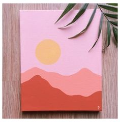 Small Canvas Paintings, Easy Canvas Art, Small Canvas Art, Easy Canvas Painting, Simple Acrylic Paintings, Mini Canvas Art, Cute Easy Paintings, Diy Canvas, Sunset Painting Easy