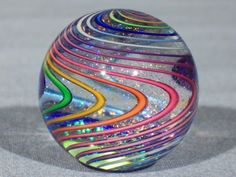 Marbles: Hand Made Art Glass James Alloway Dichroic Marble #1733 1.35 inch