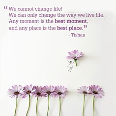 """Talk about some serious inspiration. """"We cannot change life! We can only change the way we live life. Any moment is the best moment, and any place is the best place."""" -Tishan"""