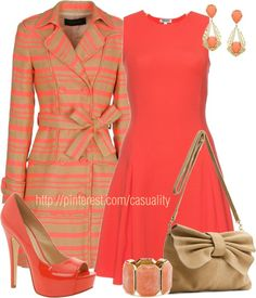 """Coral Striped Coat & Flare Dress"" by casuality on Polyvore"