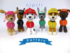 This is a SET of seven crochet PDF PATTERNS for six Paw Patrol Puppies and Chickaletta - NOT the actual finished toys at the photos!    One set includes