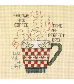 Janlynn Mini Counted Cross Stitch Kit Friends And Coffee