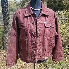 "Pepe Jeans London Jacket Maroon denim Pepe Jeans London jacket. 6 button front, to slide in pockets and two flap pockets in front. Measures 22"" from shoulder seam,  sleeves 21"" from shoulder seam edge,  22"" across front bust from underarm to underarm.  Excellent condition. Pepe Jeans London  Jackets & Coats Jean Jackets"