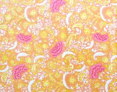 Orange with Pink Flowers Quilter's Weight by SuchPrettySupplies, $11.00