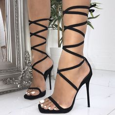 Jessie Suede Lace Up Square Toe Heels