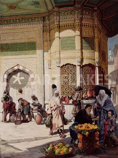 """""""Street Merchant in Istanbul"""" Picture art prints and posters by Hippolyte Berteaux - ARTFLAKES.COM Orientalism"""