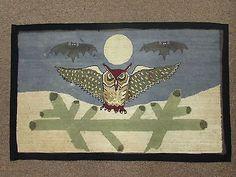 Vintage Grenfell Hooked Mat Rug Owl Bats Folk Art 1930