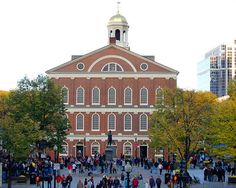 Boston, Massachusetts - Fanueil Hall in Downtown, a marketplace and a meeting hall since 1742. It was the site of several speeches by Samuel Adams, James Otis, and others encouraging independence from Great Britain