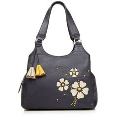 Navy daisy applique shoulder bag ($59) ❤ liked on Polyvore featuring bags, handbags, shoulder bags, blue leather purse, blue shoulder bag, navy leather shoulder bag, blue leather handbags and leather handbags