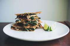 Spinach, Mushroom and Goats Cheese Quesadilla