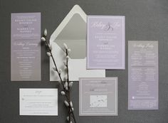 Custom Ombre Lavender and Grey Wedding Invitation Suite