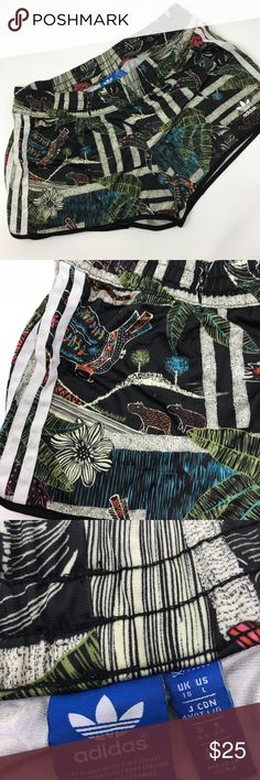 Adidas original XFL shorts Gently used condition. Size L.  adidas  XFL printed shorts  Elastic waistband  adidas logo detail on front  Three stripes detail on sides  Tropical graphic throughout  Lightweight material  Pair with tank top: S19325 FIT: True to size FABRIC: 100% polyester adidas Shorts