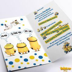 Invitație de botez deosebită cu tema Minionii din celebrul desen animat cu același nume. O invitație de botez simplă cu elemente comice, perfectă pentru acest gen de evenimente.  În preț intră invitația și plicul.  ▧ Materiale folosite: Carton fotografic – invitație; Carton colorat (galben sau albastru) pentru plic; Gen, Model, Character, Scale Model, Models, Template, Pattern, Mockup