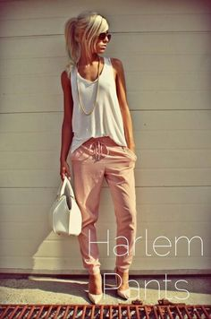 Harem pants - iv never worn them before but love these with the neutral tones and rose gold chain.