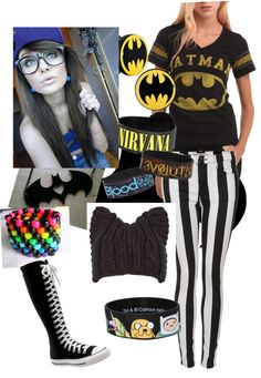 """Batman! Scene Outfit"" by volleychickss ❤ liked on Polyvore. i like the shirt and the pants and i LOVE the shoes! would look better with black laces though"