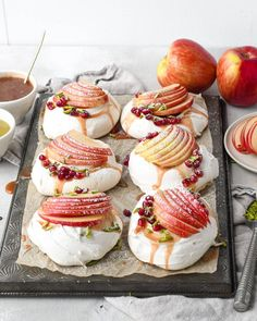 Spiced brown sugar pavlova topped with apple cider whipped cream, pistachio caramel and rave apples, made sheet pan style for easy slicing and serving!