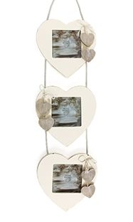 Photo Frame - White Shabby 3 Heart Frame White shabby 3 Heart Frame.  3 hanging heart picture frames hung together with chic rope and mini natural hanging hearts.  Size - 3inches x 3inches