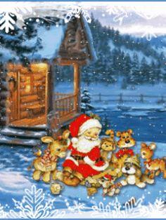 Анимированные картинки на телефон бесплатно. Очаровательный Дед мороз.