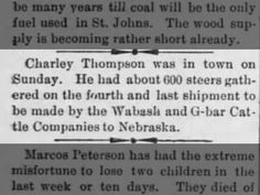 Charley Thompson~ Cattle round-up~ Wabash & G-bar Cattle Co. Nebraska. Article from the St. Johns Herald date 3 Dec 1891.