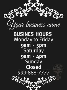 Custom Business Store Hours Vinyl Window Decal Sticker Sign By - Window decals custom business