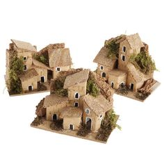 Clay Houses, Putz Houses, Paper Houses, Miniature Houses, Doll Houses, Christmas Nativity Scene, Christmas Villages, Diy Christmas Ornaments, Christmas Decorations