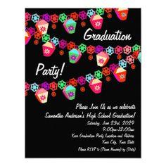 Pink Colorful Lanterns Graduation Party Invitation