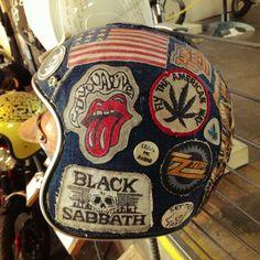 Sick patch denim helmet by  Jud (@Alex Jones Jones Jones Jones A) at The One Motorcycle Show in Portland, Oregon.