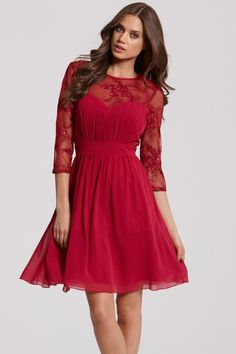 Little Mistress Berry and Gold Sequin Fit and Flare Dress - Little Mistress from Little Mistress UK
