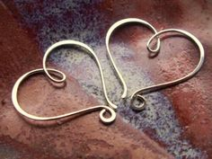 Heart shaped wire wrapped double hoop earrings