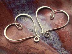 Heart shaped wire wrapped double hoop earrings