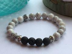 Bracelet howlite ,Bracelet Yoga, Bracelet meditation, bracelet pierre fine, Marbre, Bracelet Blanc, charkra coeur de la boutique BijouxLauthentique sur Etsy