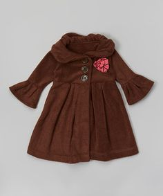 Brown & Pink Rosette Swing Coat - Toddler & Girls by Ruby and Rosie #zulily #zulilyfinds