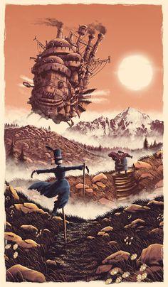 Howl's Moving Castle (Hauru no Ugoku Shiro) Howl's Moving Castle, Howls Moving Castle Wallpaper, Studio Ghibli Films, Art Studio Ghibli, Hayao Miyazaki, Japanese Animated Movies, Japon Illustration, Pop Culture Art, Alternative Movie Posters