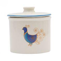Recipient Peacock din ceramica alba 9 cm