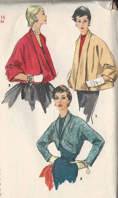 Vintage 1950's Misses' Set Of Jackets Sewing Pattern, Three Styles, Simplicity 4944. $16.00, via Etsy.