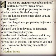 """#SundayReflection """"People are often unreasonable and self-centered..."""" w/#motherteresa #ThinkBIGSundayWithMarsha"""