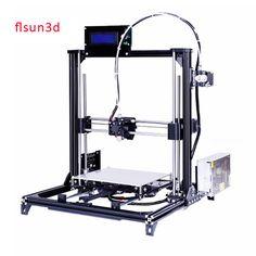 2016 Nuevo De Aluminio Estructura flsun3d Impresora 3D Prusa i3 BRICOLAJE Kit de Impresora 3d Cama Calentada Dos Rollos Filamento SD Tarjeta