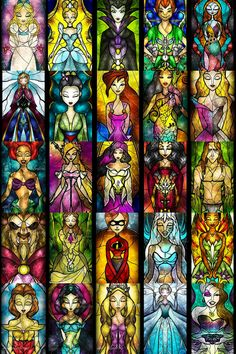 Disney stain glass collage