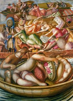 """Christ Preaching at the Cookham Regatta, Conversation between Punts' by Stanley Spencer, 1955"