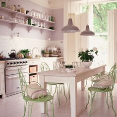 Surprisingly I love the pale purple and creme combo in this kitchen.