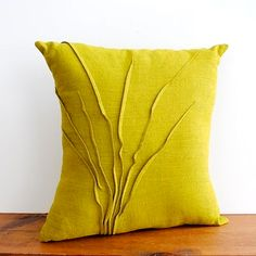 Chartreuse grass pillow, i wantttt Linen Pillows, Diy Pillows, Custom Pillows, Decorative Pillows, Throw Pillows, Diy Cushion, Cushion Covers, Pillow Covers, Felt Pillow