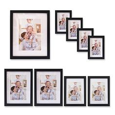 Giftgarden Black Wood Wall Frame set of 9 pcs,one 8x10, two 5x7, two 4x6, four 3.5x5, PVC lens