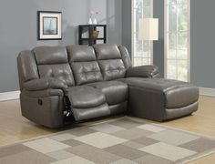Sofa Lounger - Reclining / Grey Bonded Leather