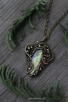 Labradorite pendant Brass pendant Wirewrapped jewelry Wire