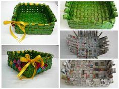 Weaved newspaper basket