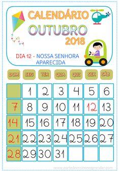 Calendário OUTUBRO 2018